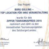Urkunde_Zipfer_Tourismuspreis_Burg_Golling_2015